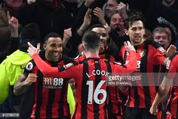 Bournemouth's English striker Callum Wilson celebrates scoring the team's first goal during the English Premier League football match between Chelsea...