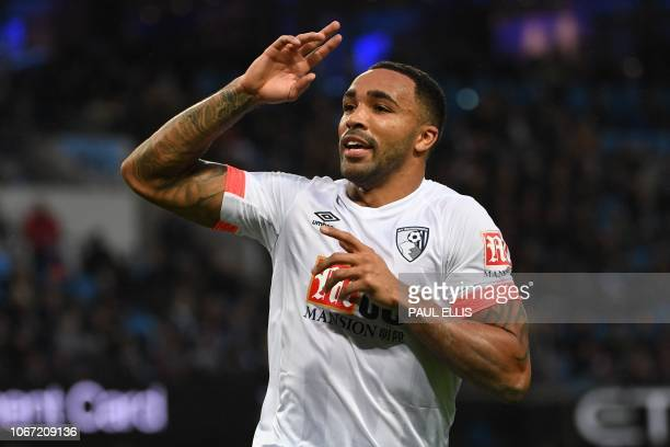 Bournemouth's English striker Callum Wilson celebrates scoring their first goal to equalise 11 during the English Premier League football match...