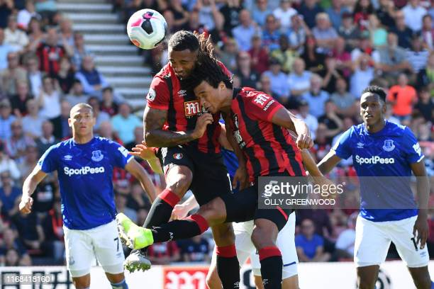 Bournemouth's English striker Callum Wilson heads home the opening goal of the English Premier League football match between Bournemouth and Everton...