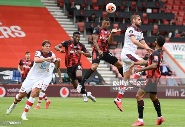 Bournemouth's English striker Callum Wilson heads the ball during the English Premier League football match between Bournemouth and Southampton at...