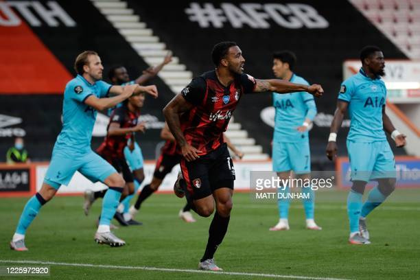 Bournemouth's English striker Callum Wilson reacts to a goal then disallowed for a handball during the English Premier League football match between...