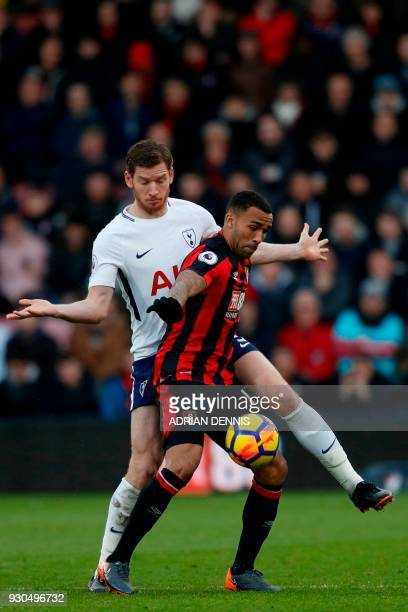 Bournemouth's English striker Callum Wilson vies with Tottenham Hotspur's Belgian defender Jan Vertonghen during the English Premier League football...