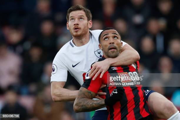 TOPSHOT Bournemouth's English striker Callum Wilson vies with Tottenham Hotspur's Belgian defender Jan Vertonghen during the English Premier League...
