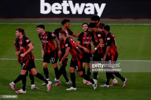 Bournemouth's English striker Dominic Solanke celebrates scoring the fourth goal during the English Premier League football match between Bournemouth...