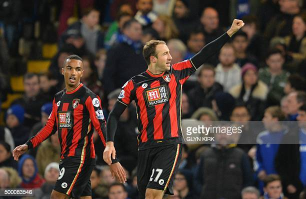 Bournemouth's English striker Glenn Murray celebrates after scoring during the English Premier League football match between Chelsea and Bournemouth...