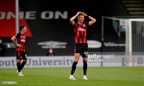 Bournemouth's English striker Sam Surridge reacts after his goal was disallowed by VAR during the English Premier League football match between...