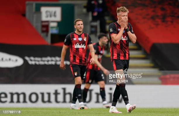 Bournemouth's English striker Sam Surridge reacts after Southampton's English midfielder Che Adams scoring his team's second goal during the English...