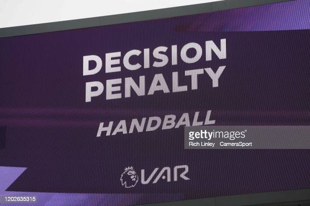Bournemouth's equalising goal is ruled out for handball and Burnley awarded a penalty following VAR review during the Premier League match between...