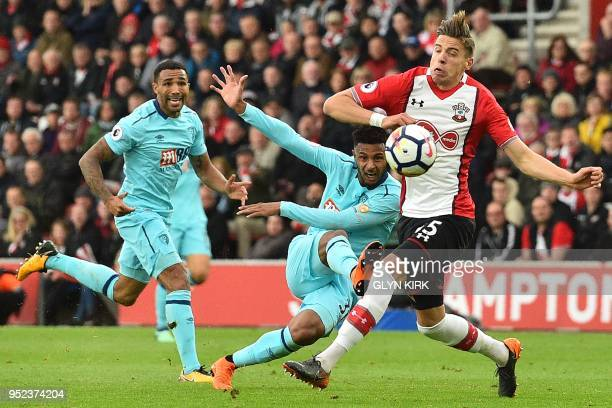 Bournemouth's French midfielder Lys Mousset takes a shot during the English Premier League football match between Southampton and Bournemouth at St...