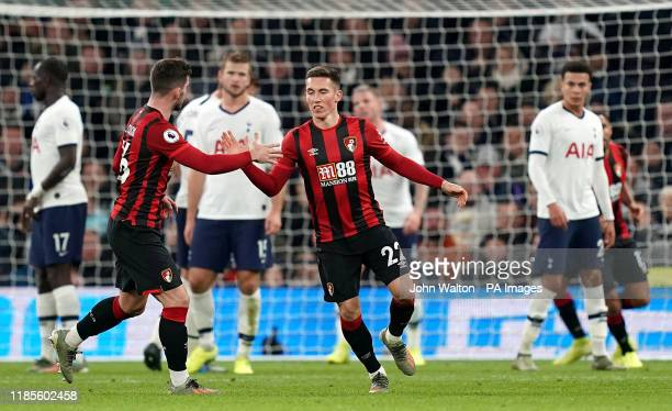 Bournemouth's Harry Wilson celebrates scoring his side's first goal of the game during the Premier League match at Tottenham Hotspur Stadium, London.