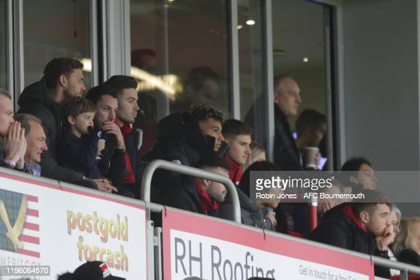 Bournemouth's injured players Simon Francis Adam Smith Lloyd Kelly David Brooks and Nathan Ake watch from the stand during the Premier League match...