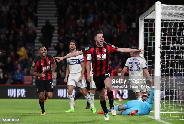 AFC Bournemouth's Jack Simpson celebrates scoring his side's first goal of the game during the Carabao Cup Fourth Round match at the Vitality Stadium...