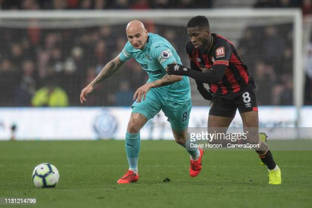 Bournemouth's Jefferson Lerma vies for possession with Newcastle United's Jonjo Shelvey during the Premier League match between AFC Bournemouth and...