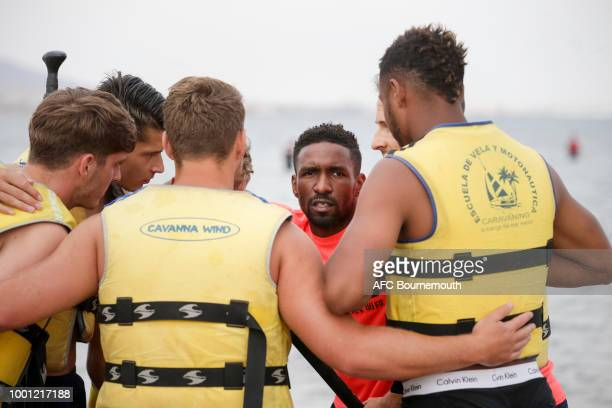 Bournemouth's Jermain Defoe and players take to paddle boards during preseason teambuilding exercise on July 18 2018 in La Manga Spain