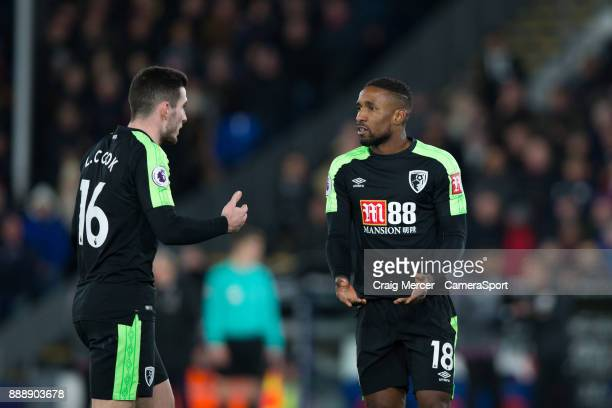 Bournemouth's Jermain Defoe talks with team mate Lewis Cook during the Premier League match between Crystal Palace and AFC Bournemouth at Selhurst...