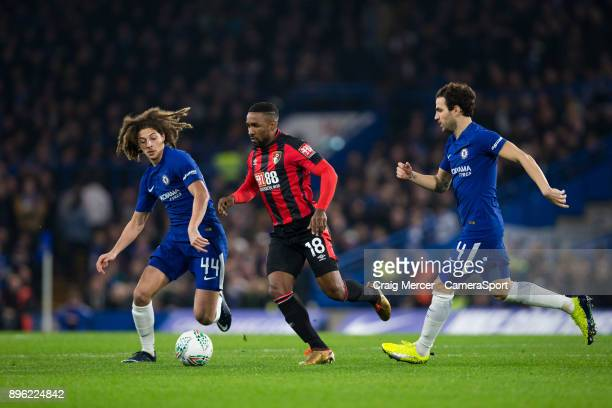 Bournemouth's Jermain Defoe vies for possession with Chelsea's Ethan Ampadu during the Carabao Cup Quarter Final match between Chelsea and...