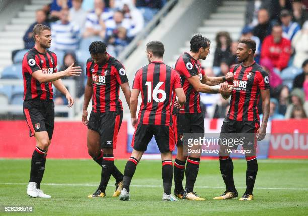 Bournemouth's Jordon Ibe celebrates his goal with his teammates during the preseason match at the Vitality Stadium Bournemouth PRESS ASSOCIATION...