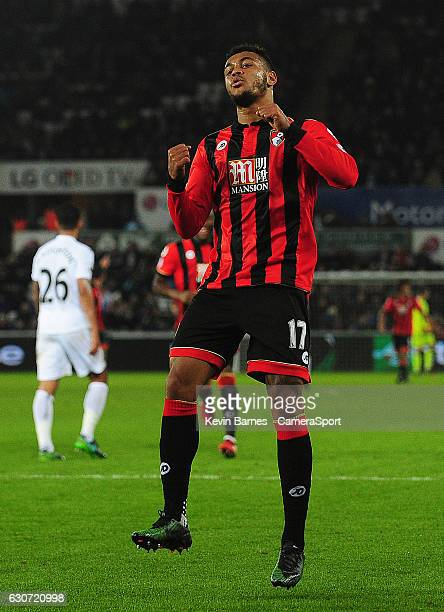 Bournemouth's Joshua King celebrates scoring his sides third goal during the Premier League match between Swansea City and AFC Bournemouth at Liberty...