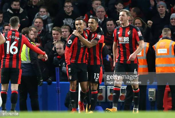 AFC Bournemouth's Junior Stanislas celebrates scoring his side's second goal of the game with team mates during the Premier League match at Stamford...
