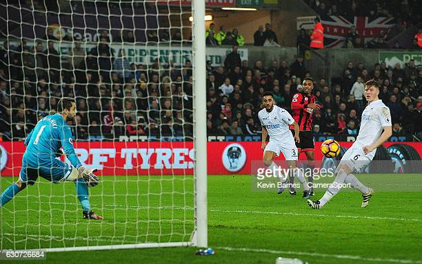 Bournemouth's Junior Stanislas shoots wide during the Premier League match between Swansea City and AFC Bournemouth at Liberty Stadium on December 31...
