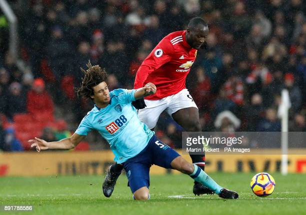 AFC Bournemouth's Nathan Ake and Manchester United's Romelu Lukaku battle for the ball during the Premier League match at Old Trafford Manchester