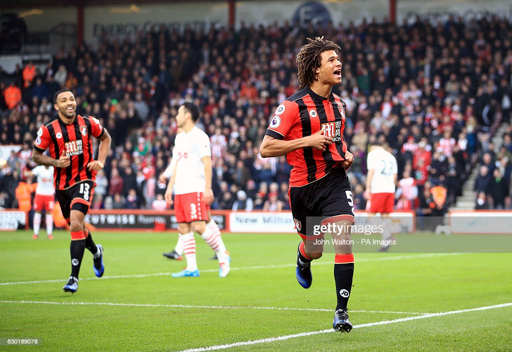 AFC Bournemouth's Nathan Ake celebrates scoring his side's first goal of the game during the Premier League match at the Vitality Stadium, Bournemouth.