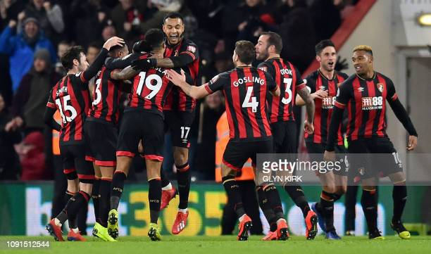 Bournemouth's Norwegian striker Joshua King celebrates scoring his team's third goal during the English Premier League football match between...