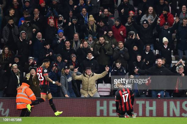 Bournemouth's Norwegian striker Joshua King celebrates scoring the opening goal during the English Premier League football match between Bournemouth...