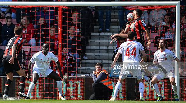 Bournemouth's Norwegian striker Joshua King scores his team's first goal during the English Premier League football match between Bournemouth and...
