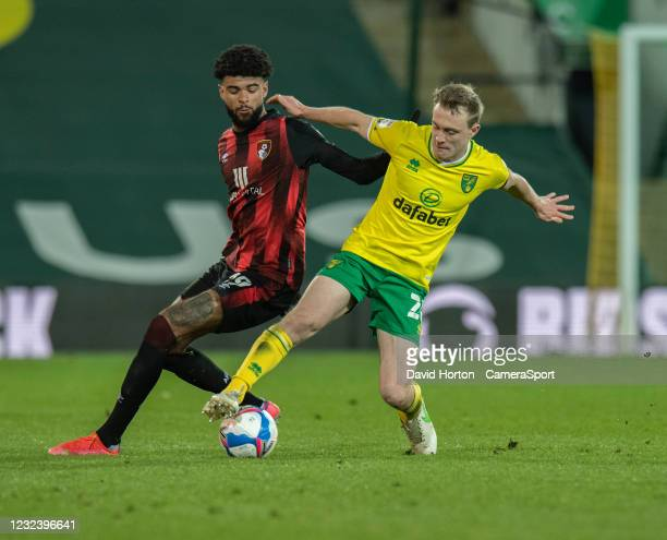 Bournemouth's Philip Billing vies for possession with Norwich City's Oliver Skipp during the Sky Bet Championship match between Norwich City and AFC...