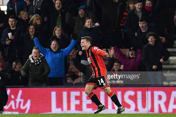 Bournemouth's Scottish midfielder Ryan Fraser celebrates after scoring their third goal during the English Premier League football match between...