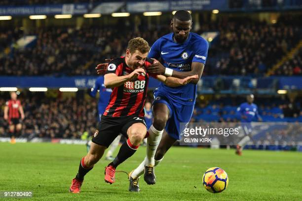 Bournemouth's Scottish midfielder Ryan Fraser vies with Chelsea's German defender Antonio Rudiger during the English Premier League football match...