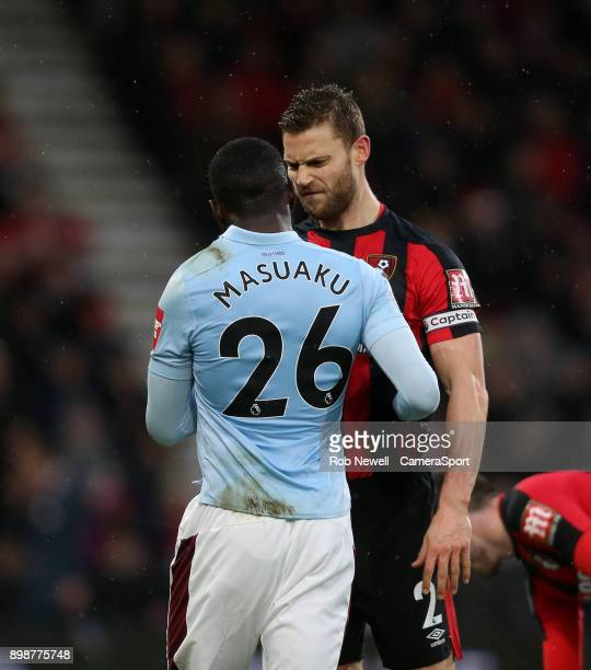 Bournemouth's Simon Francis and West Ham United's Arthur Masuaku squareup in the first half during the Premier League match between AFC Bournemouth...