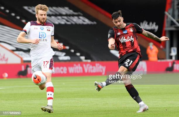 Bournemouth's Spanish defender Diego Rico kicks the ball during the English Premier League football match between Bournemouth and Southampton at the...
