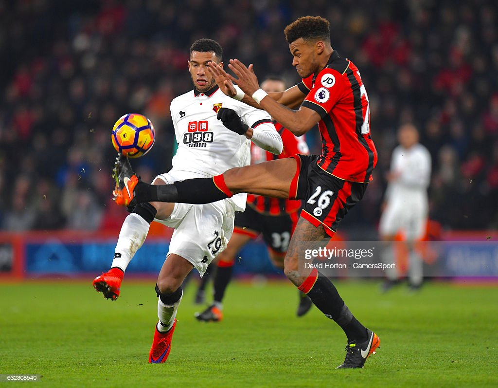 Bournemouth's Tyrone Mings battles with Watford's Etienne Capoue during the Premier League match between AFC Bournemouth and Watford at Vitality Stadium on January 21, 2017 in Bournemouth, England.