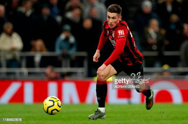 Bournemouth's Welsh midfielder Harry Wilson runs with the ball during the English Premier League football match between Tottenham Hotspur and...