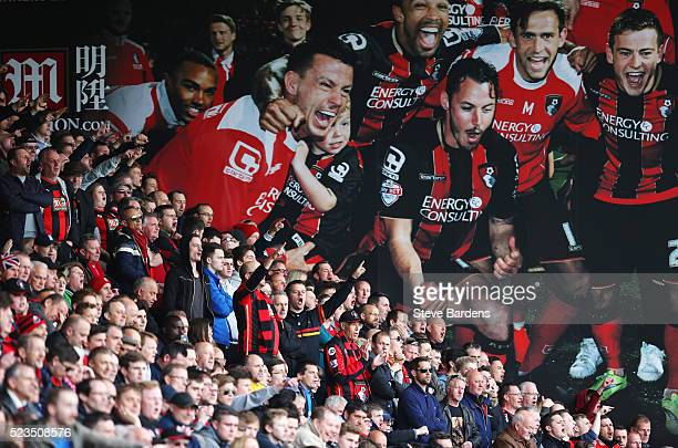 Bournmouth supporters look on during the Barclays Premier League match between AFC Bournemouth and Chelsea at the Vitality Stadium on April 23 2016...