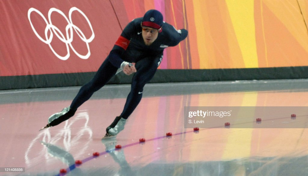 K.C. Boutiette of the United States in action during the Men's Speed Skating 5000 M race in the 2006 Olympic Games at the Oval Lingotto in Torino, Italy on February 11, 2006.