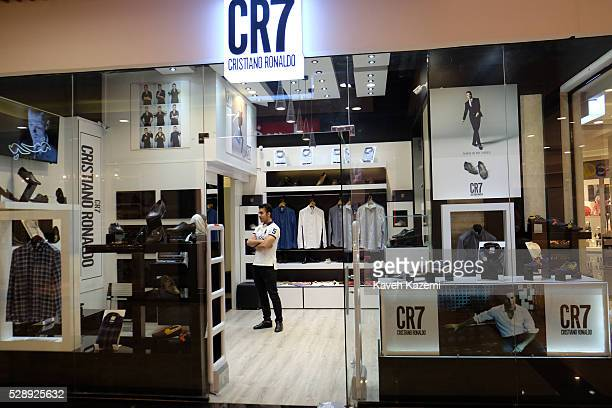 Boutique sells the legendary football player Cristiano Ronaldo clothing in the newly opened Palladium shopping mall on April 28, 2016 in Tehran,...