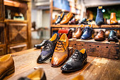 Boutique shoes in a store