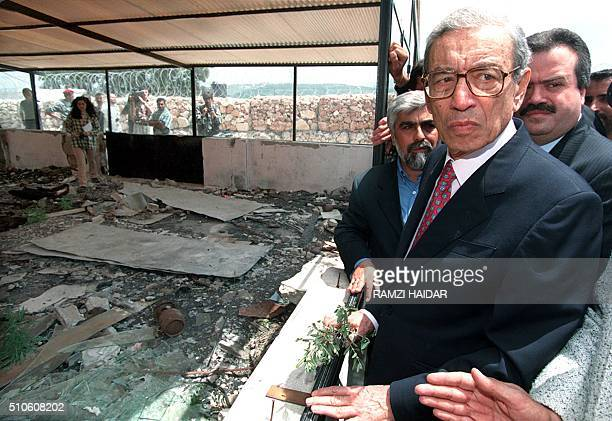 Boutros BoutrosGhali SecretaryGeneral of the Francophone Movement visits 29 April the site of the UN Figian base in the Lebanese southern village...