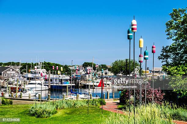 bouy lined walkway - hyannis port stock pictures, royalty-free photos & images