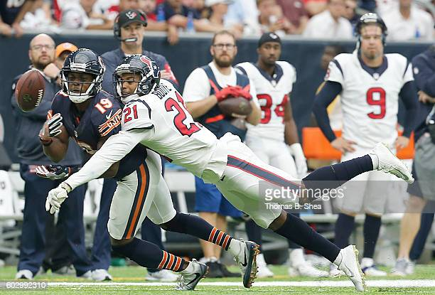 J Bouye of the Houston Texans breaks up a pass intended for Eddie Royal of the Chicago Bears in the second half at NRG Stadium on September 11 2016...