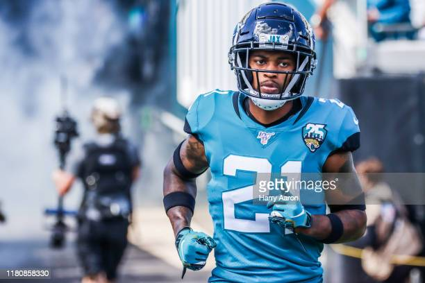 J Bouye of the Jacksonville Jaguars charges onto the field to face the New Orleans Saints at TIAA Bank Field on October 13 2019 in Jacksonville...
