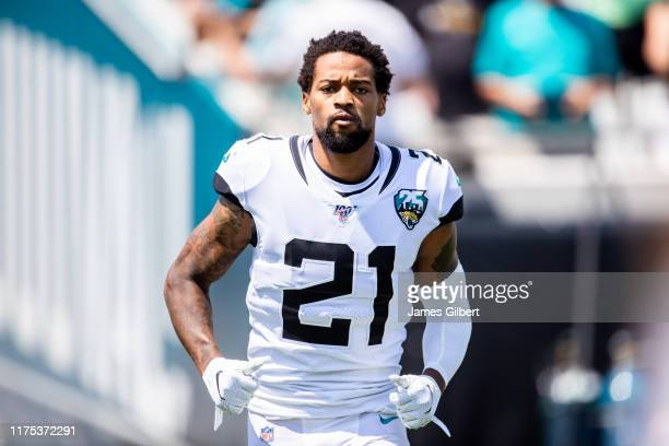J Bouye of the Jacksonville Jaguars enters the field during player introductions before a game against the Kansas City Chiefs at TIAA Bank Field on...