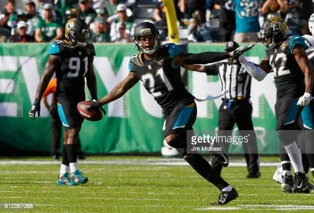 AJ Bouye of the Jacksonville Jaguars in action against the New York Jets on October 1 2017 at MetLife Stadium in East Rutherford New Jersey The Jets...