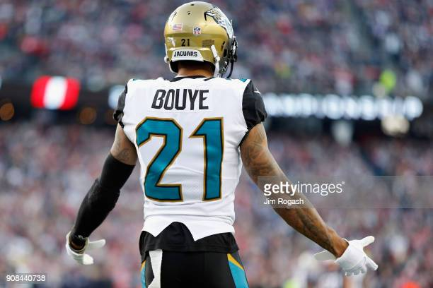 J Bouye of the Jacksonville Jaguars reacts after a pass interference call in the second quarter during the AFC Championship Game against the New...