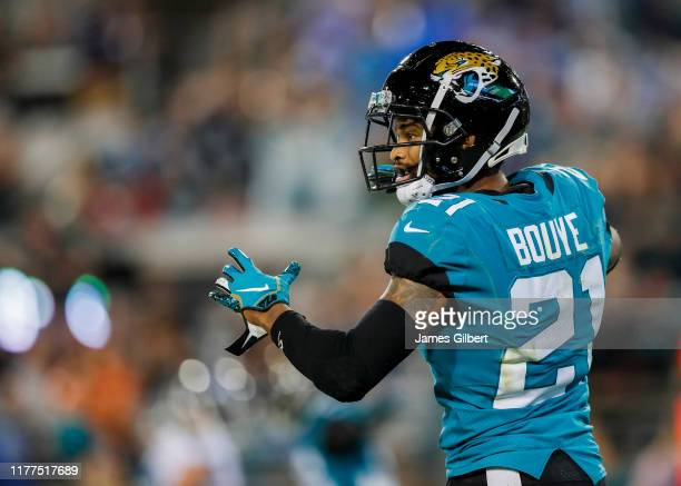 J Bouye of the Jacksonville Jaguars reacts during the third quarter against the Tennessee Titans at TIAA Bank Field on September 19 2019 in...