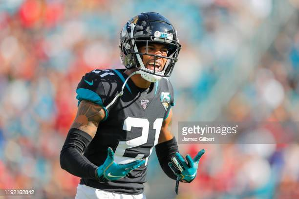 J Bouye of the Jacksonville Jaguars reacts to a call during the second quarter of a game against the Tampa Bay Buccaneers at TIAA Bank Field on...