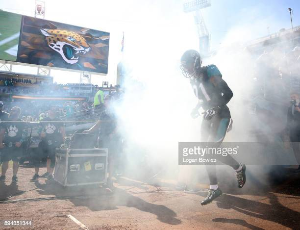 J Bouye of the Jacksonville Jaguars runs out to the field prior to the start of their game against the Houston Texans at EverBank Field on December...